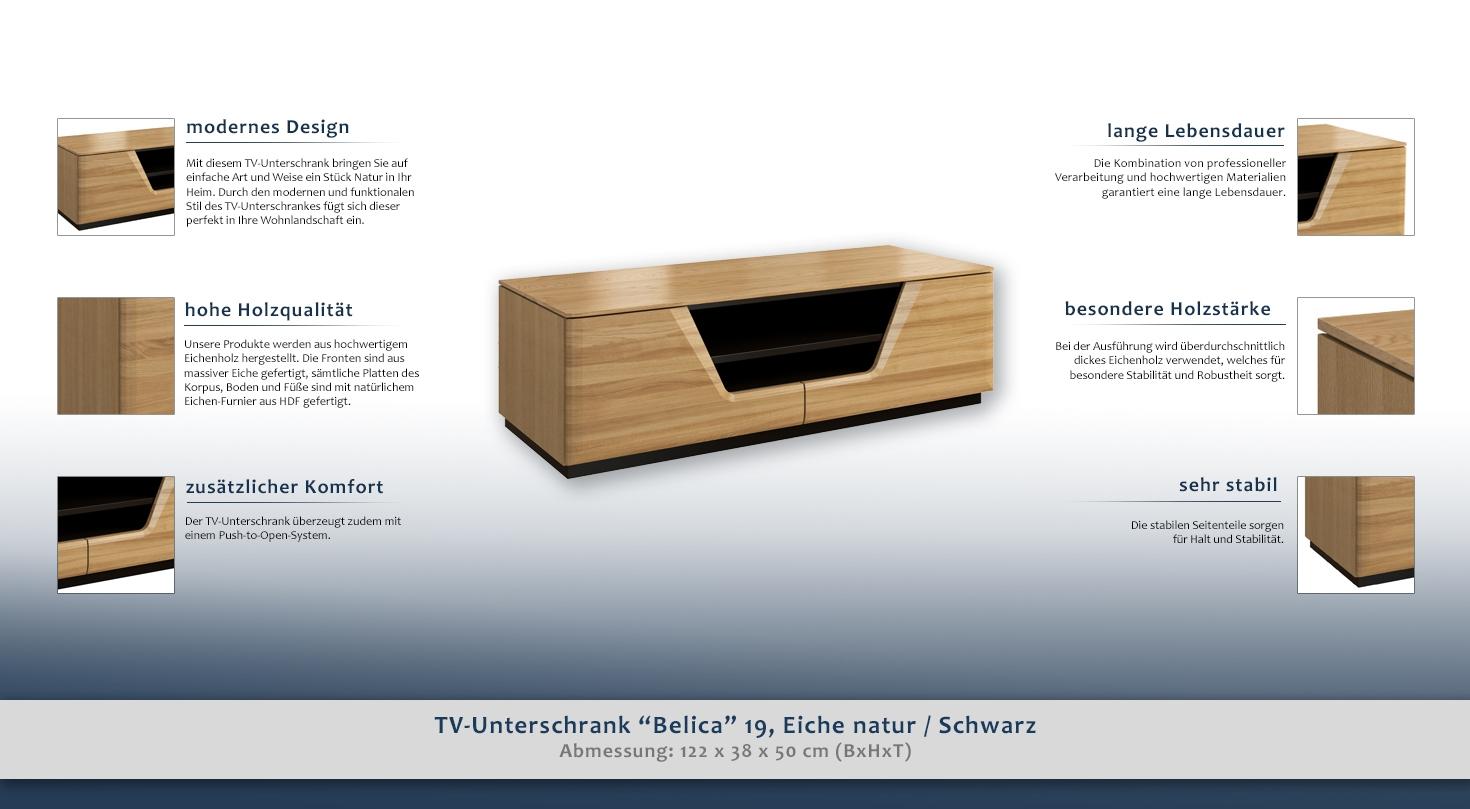 3149e53f01 TV-Möbel TV-Schrank teilmassiv Farbe: Eiche / Schwarz 38x122x50 cm ...