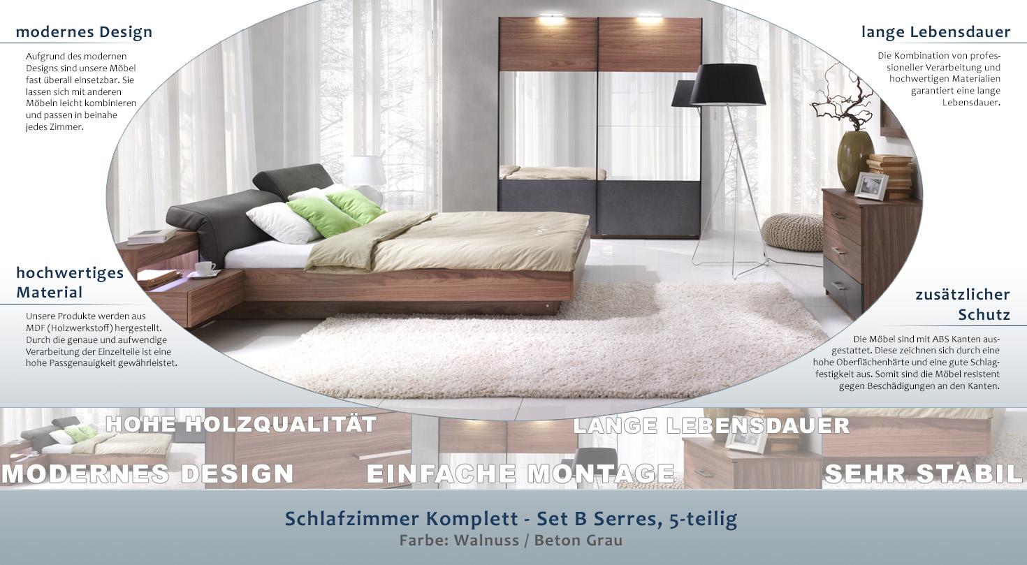 Schlafzimmer Komplett - Set B Serres, 5-teilig, Farbe: Walnuss ...