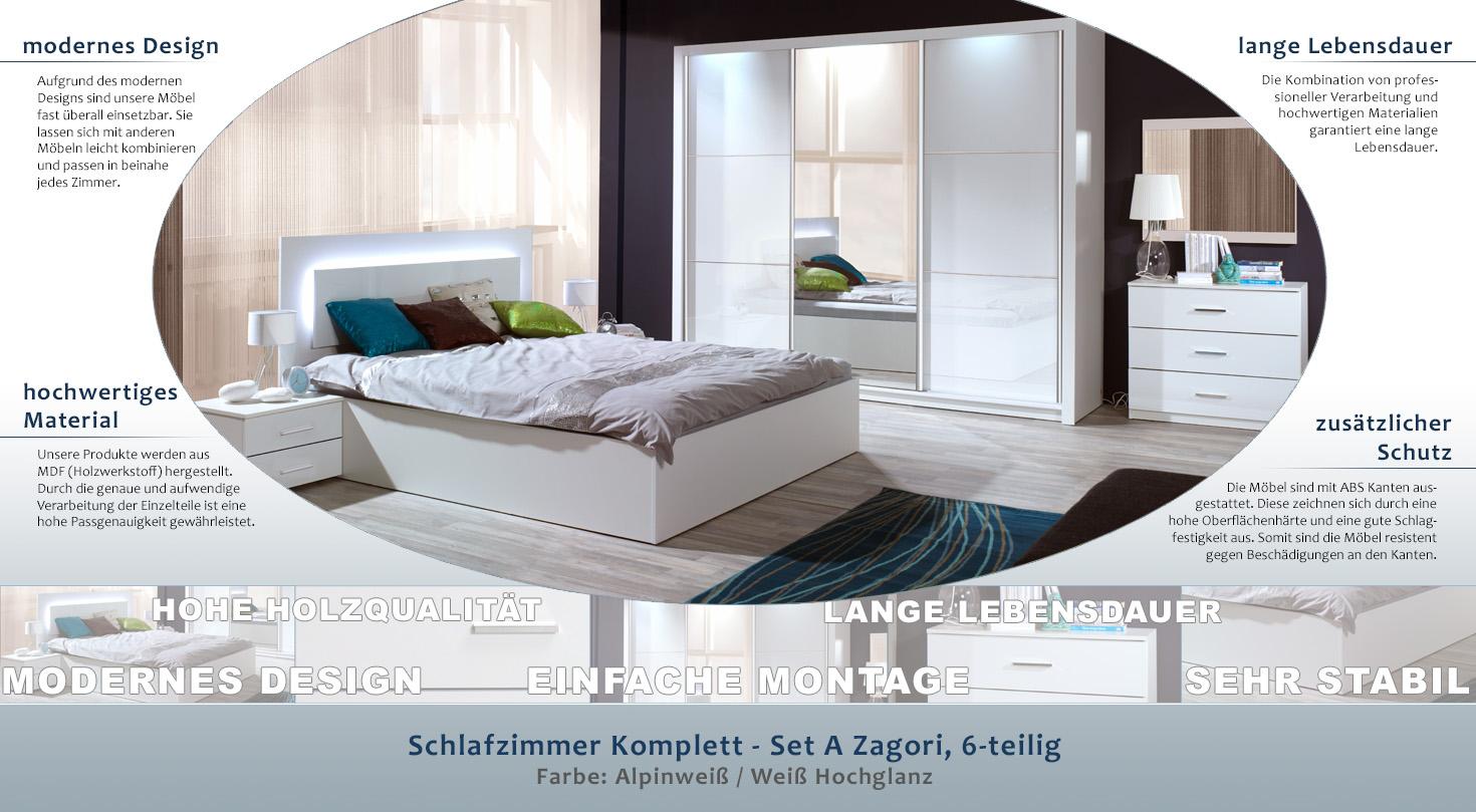 Schlafzimmer Komplett - Set A Zagori, 6-teilig, Farbe: Alpinweiß ...