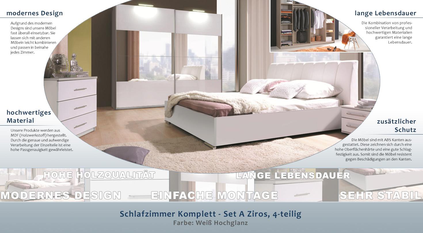 Schlafzimmer Komplett - Set A Ziros, 5-teilig, Farbe: Weiß Hochglanz