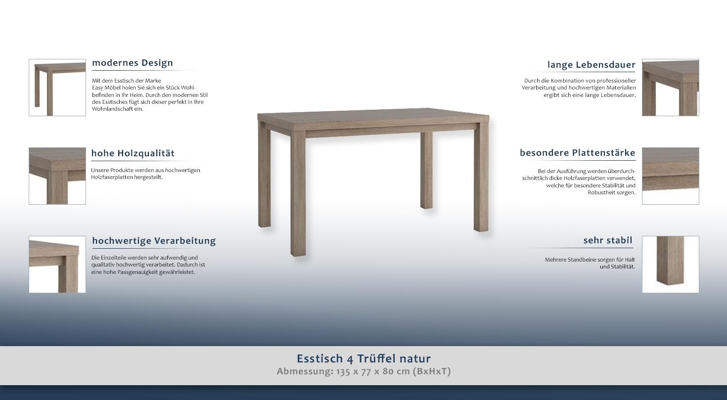 Esstisch 4 tr ffel natur eckig abmessungen 135 x 80 for Design esstisch x7