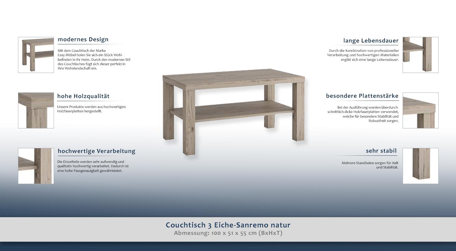 couchtisch 3 sanremo eiche natur abmessungen 100 x 51 x 55 cm b x h x t. Black Bedroom Furniture Sets. Home Design Ideas