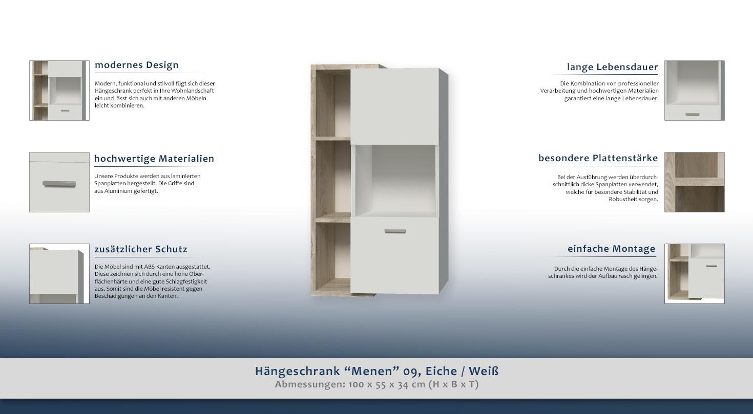 Hängeschrank Menen 09, Eiche / Weiß - Abmessungen: 100 x 55 x 34 cm ...