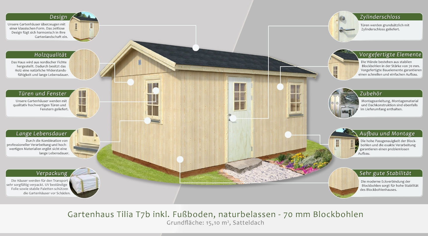 gartenhaus tilia t7b inkl fu boden naturbelassen. Black Bedroom Furniture Sets. Home Design Ideas
