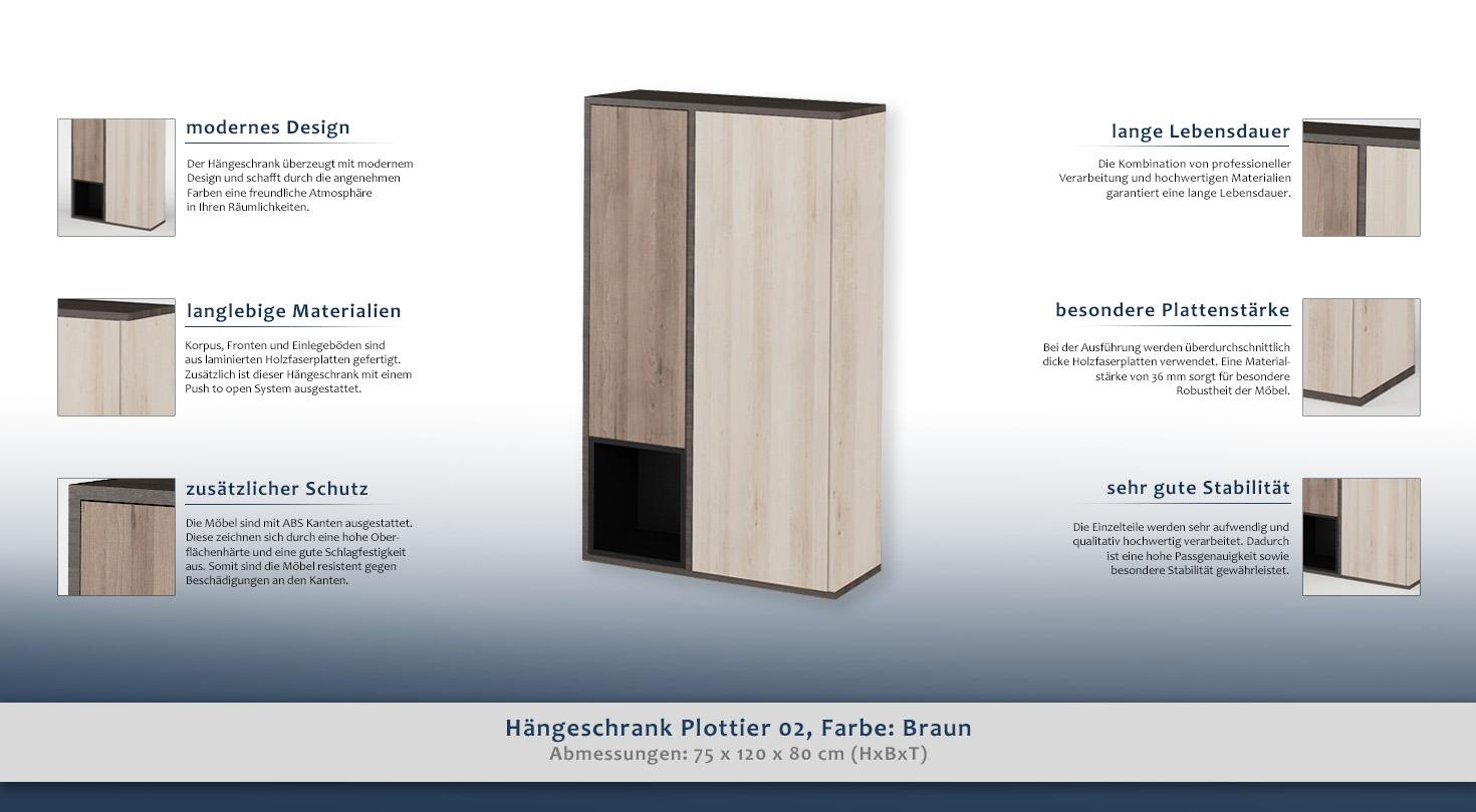 Hängeschrank Plottier 02, Farbe: Braun - 75 x 120 x 80 cm (H x B x T)