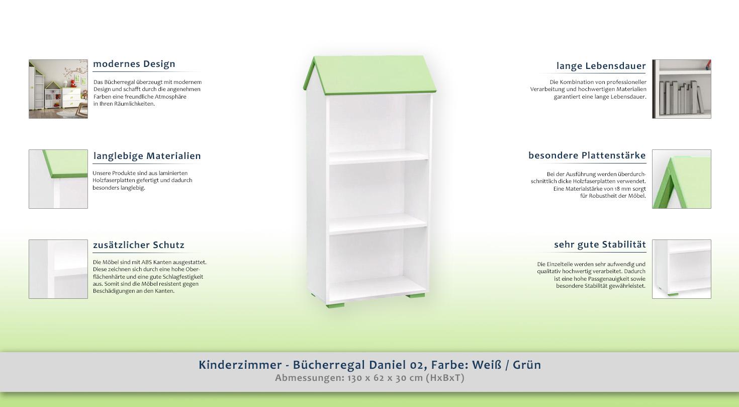 Kinderzimmer Bücherregal Daniel 02 Farbe Weiß Grün 130 X 62 X 30 Cm H X B X T