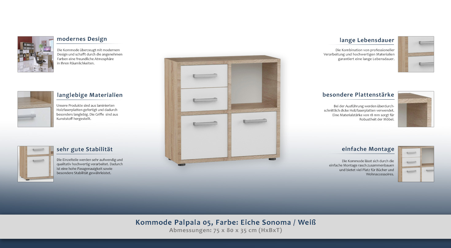 Kommode Palpala 05, Farbe: Eiche Sonoma / Weiß - 75 x 80 x 35 cm (H ...