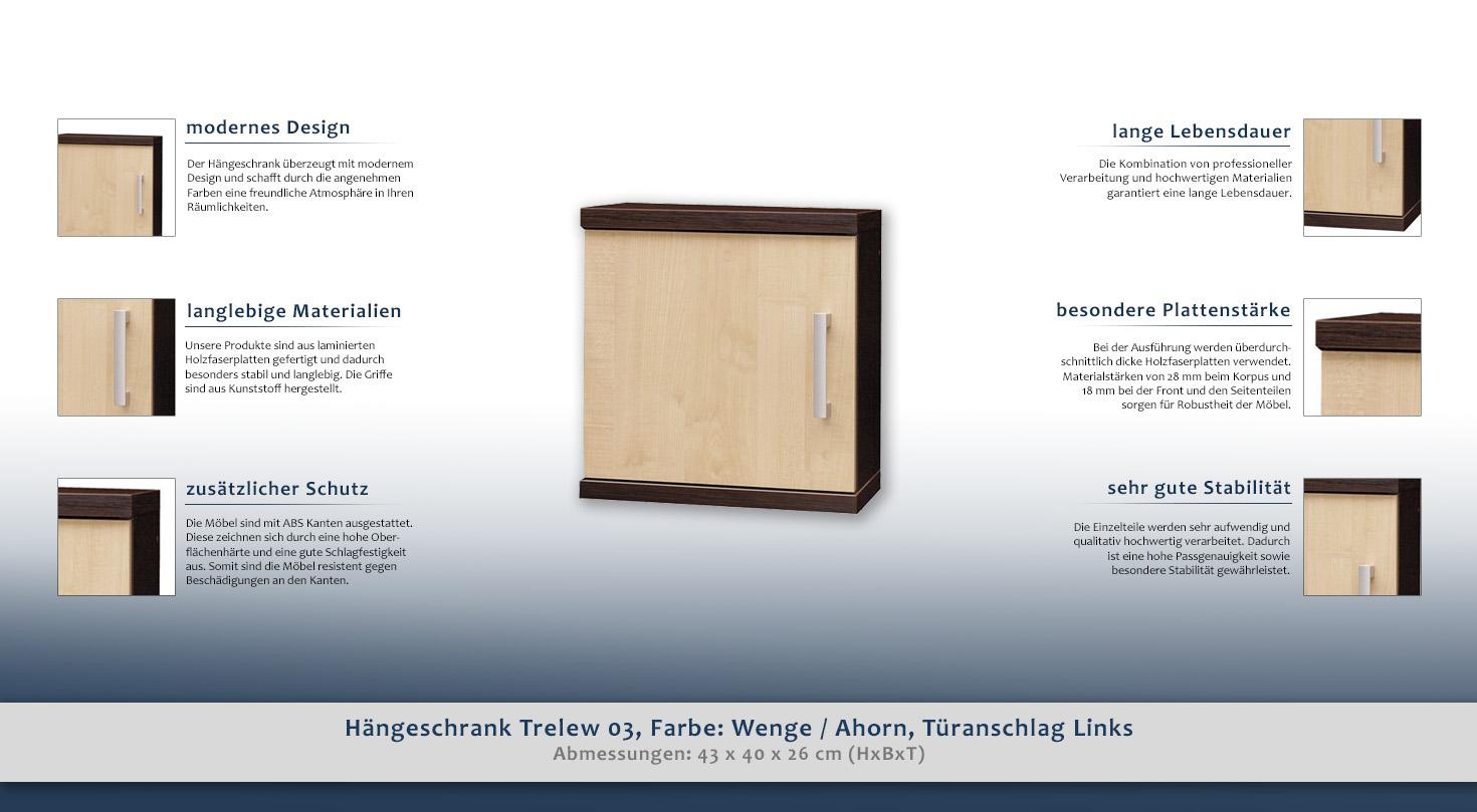 Hängeschrank Trelew 03, Farbe: Wenge / Ahorn, Türanschlag Links - 43 ...