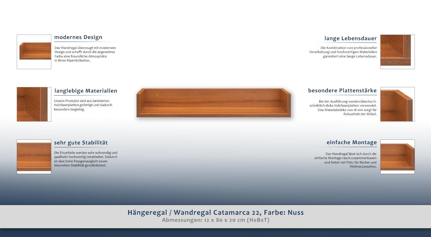 Hängeregal / Wandregal Catamarca 22, Farbe: Nuss - 12 x 80 x 20 cm ...