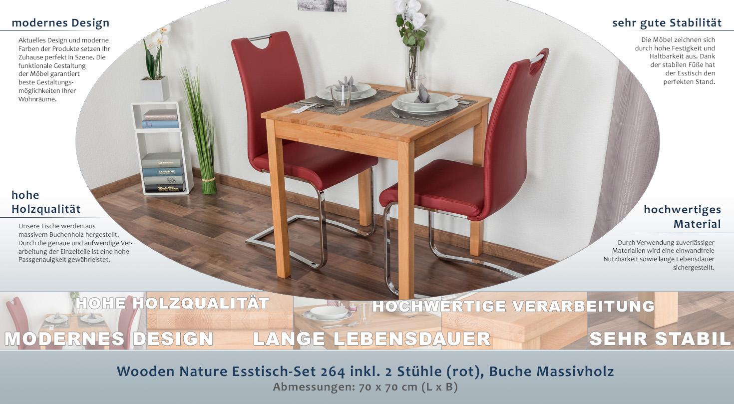 Wooden Nature Esstisch-Set 264 inkl. 2 Stühle (rot), Buche ...