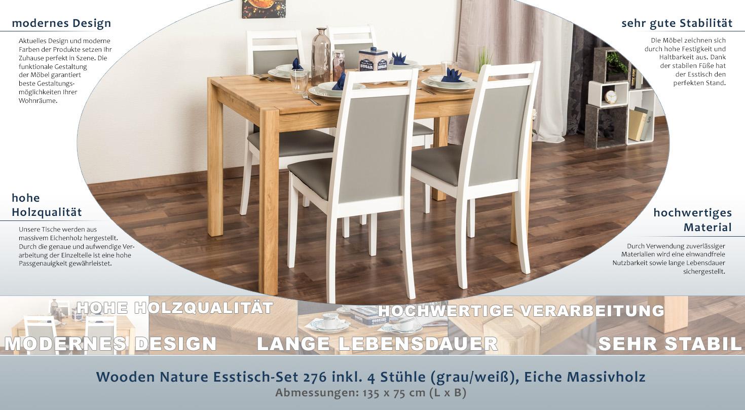 Wooden Nature Esstisch-Set 276 inkl. 4 Stühle (grau/weiß), Eiche ...