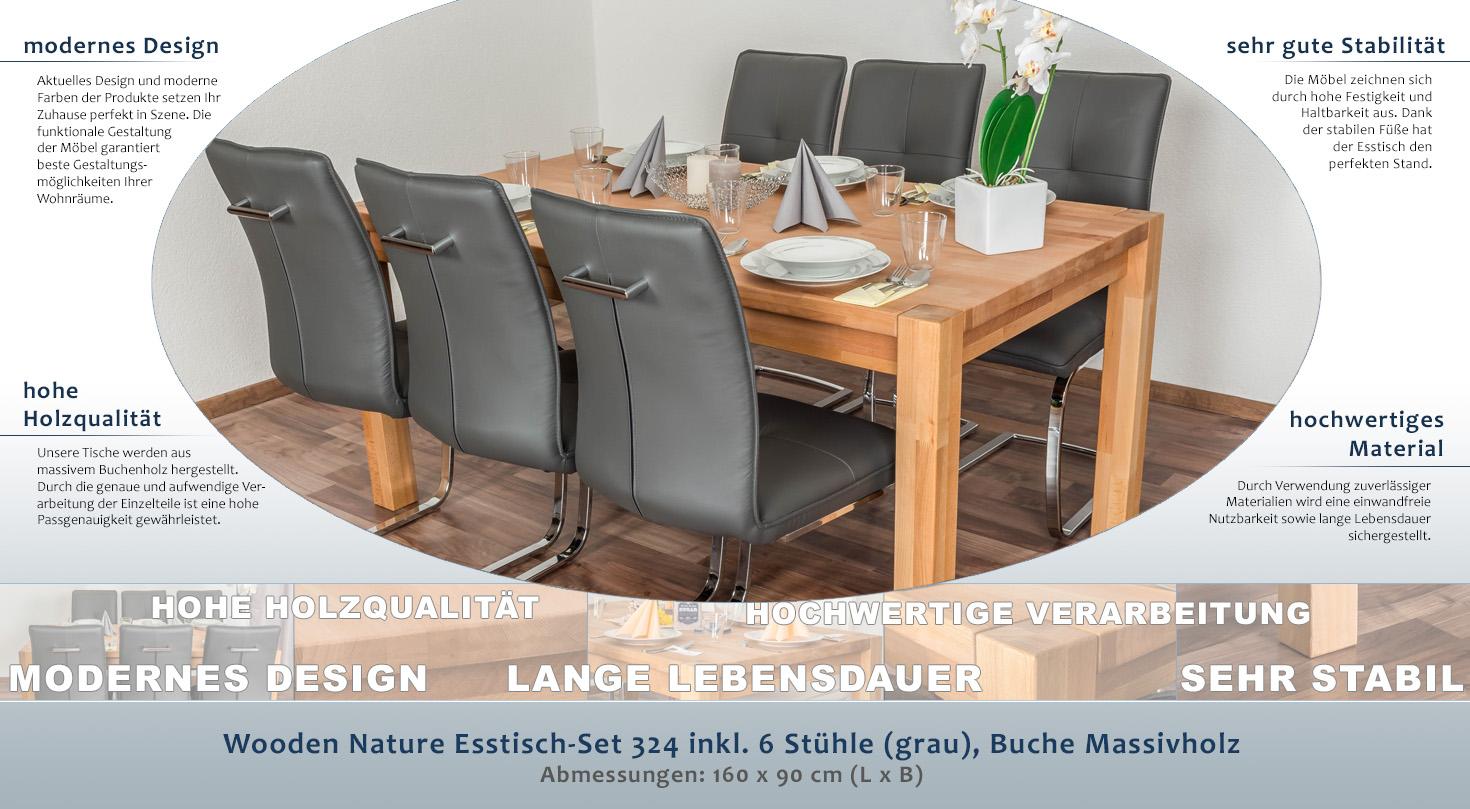 Wooden Nature Esstisch-Set 324 inkl. 6 Stühle (grau), Buche ...
