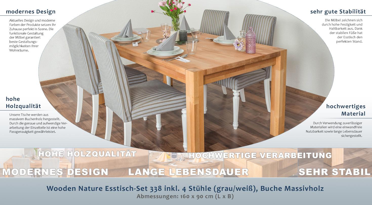 Wooden Nature Esstisch-Set 338 inkl. 4 Stühle (grau / weiß), Buche ...