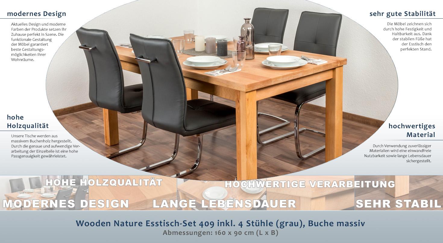 Wooden Nature Esstisch-Set 409 inkl. 4 Stühle (grau), Buche massiv ...