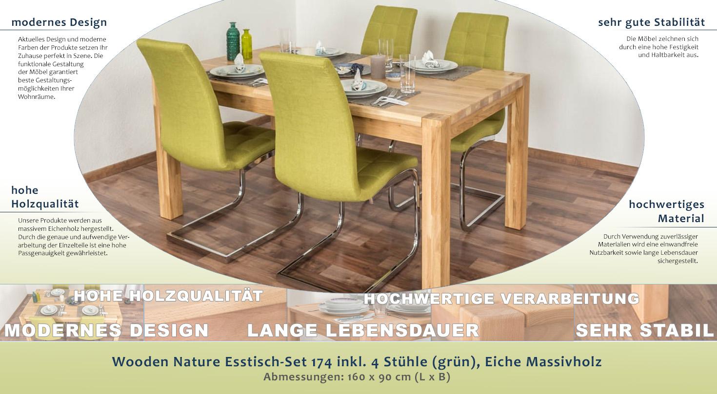 Wooden Nature Esstisch-Set 174 inkl. 4 Stühle (grün), Eiche ...
