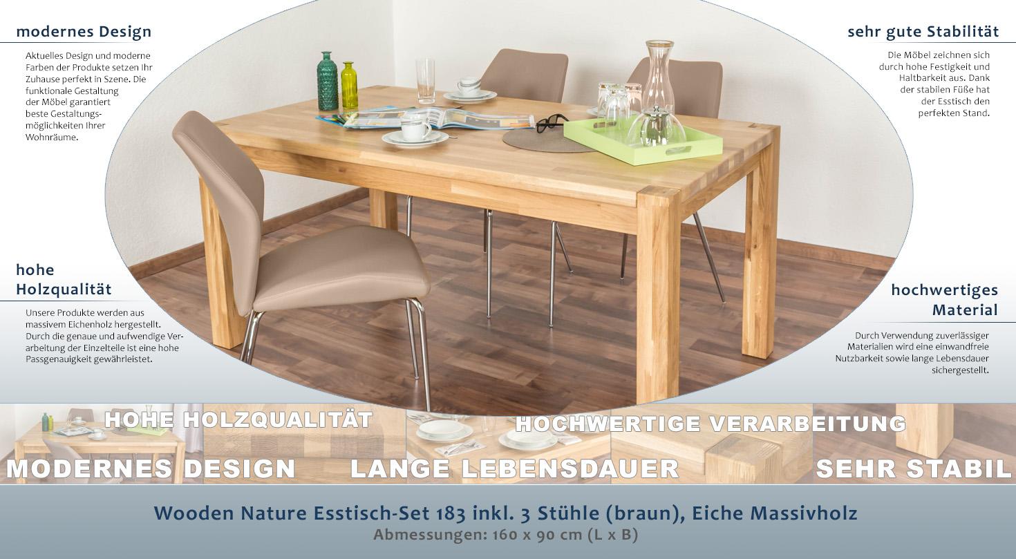 Wooden Nature Esstisch-Set 183 inkl. 3 Stühle (braun), Eiche ...