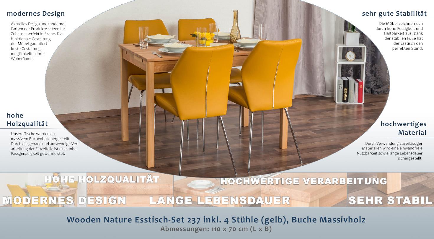 Wooden Nature Esstisch-Set 237 inkl. 4 Stühle (gelb), Buche ...