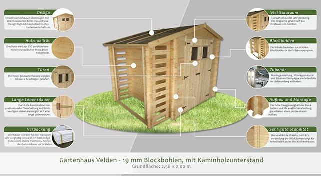 gartenhaus velden 2 56 x 2 00 meter aus 19mm blockbohlen mit kaminholzunterstand. Black Bedroom Furniture Sets. Home Design Ideas