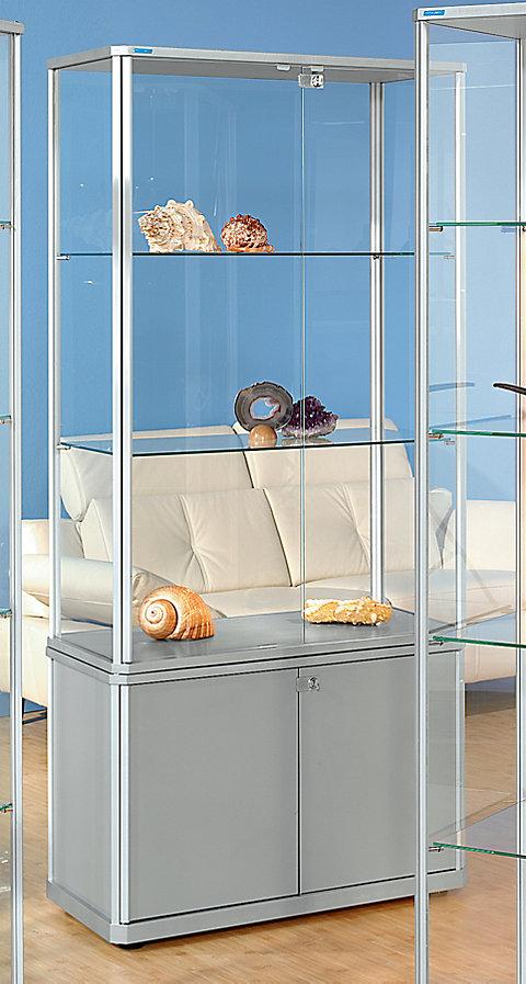 JosefSteiner Design-Vitrine mit Unterschrank, HxBxT 1800 x 520 x 520 - Beleuchtung: Ja