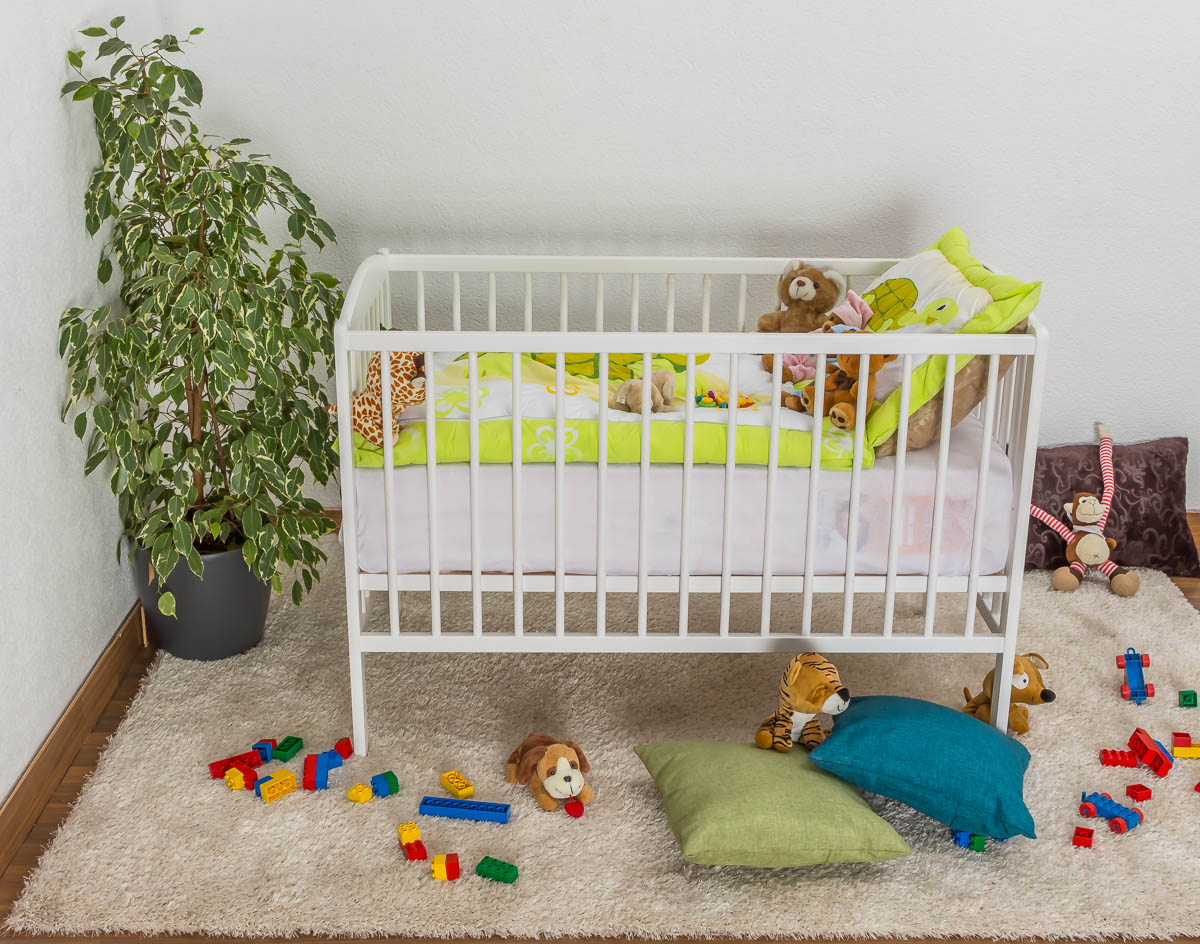Steiner Shopping Möbel Gitterbett / Kinderbett Kiefer massiv Vollholz weiß lackiert 103, inkl. Lattenrost - Abmessung 60 x 120 cm