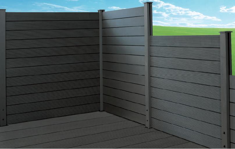 Sichtschutz Eole Bretter 3 Stück (Kunststoff-Holzvariation) - Farbe: Grau