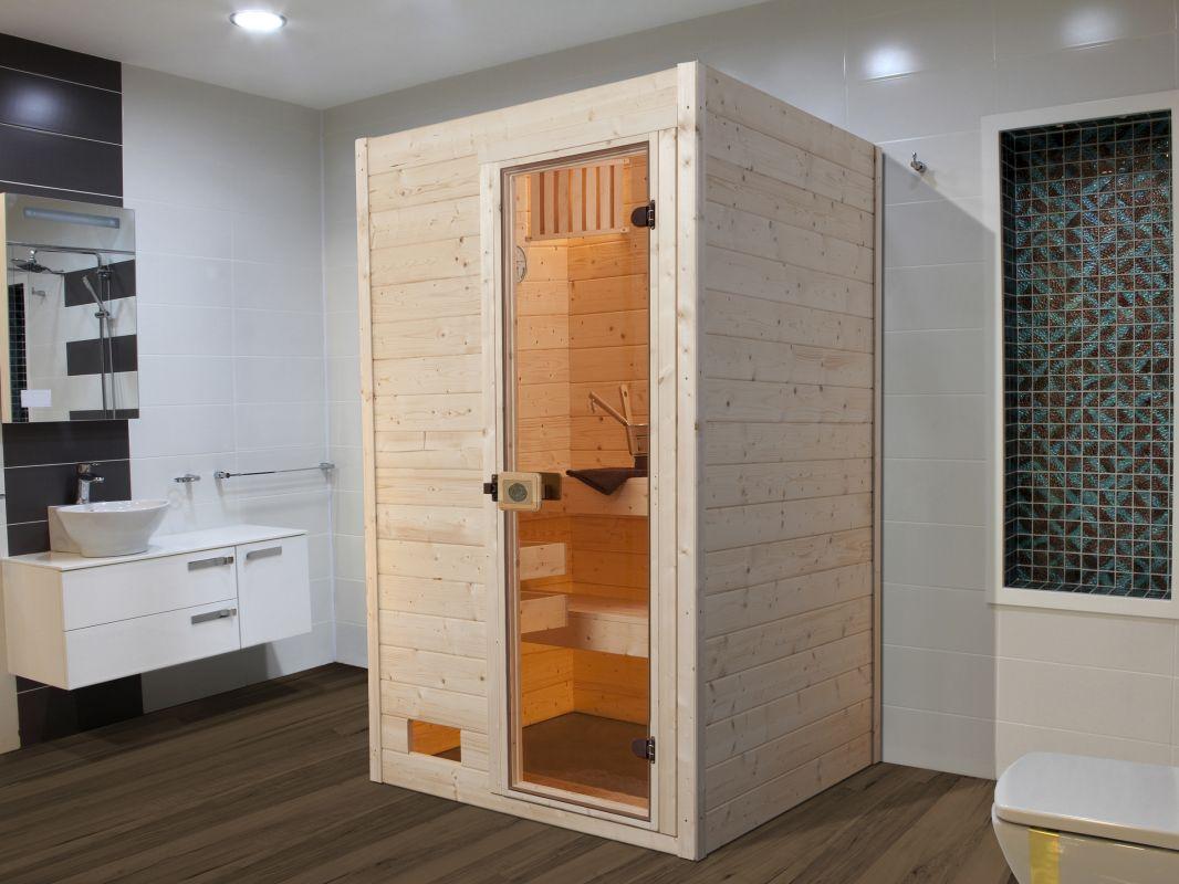 Weka MH-Sauna Set MALMÖ - Variante:1 , Ofen:3,6 kW Saunaofen , Steuerung:inklusive, Außenmaße (BxTXH):139 x 139 x 203 cm, Einstieg: Fronsteinstieg,