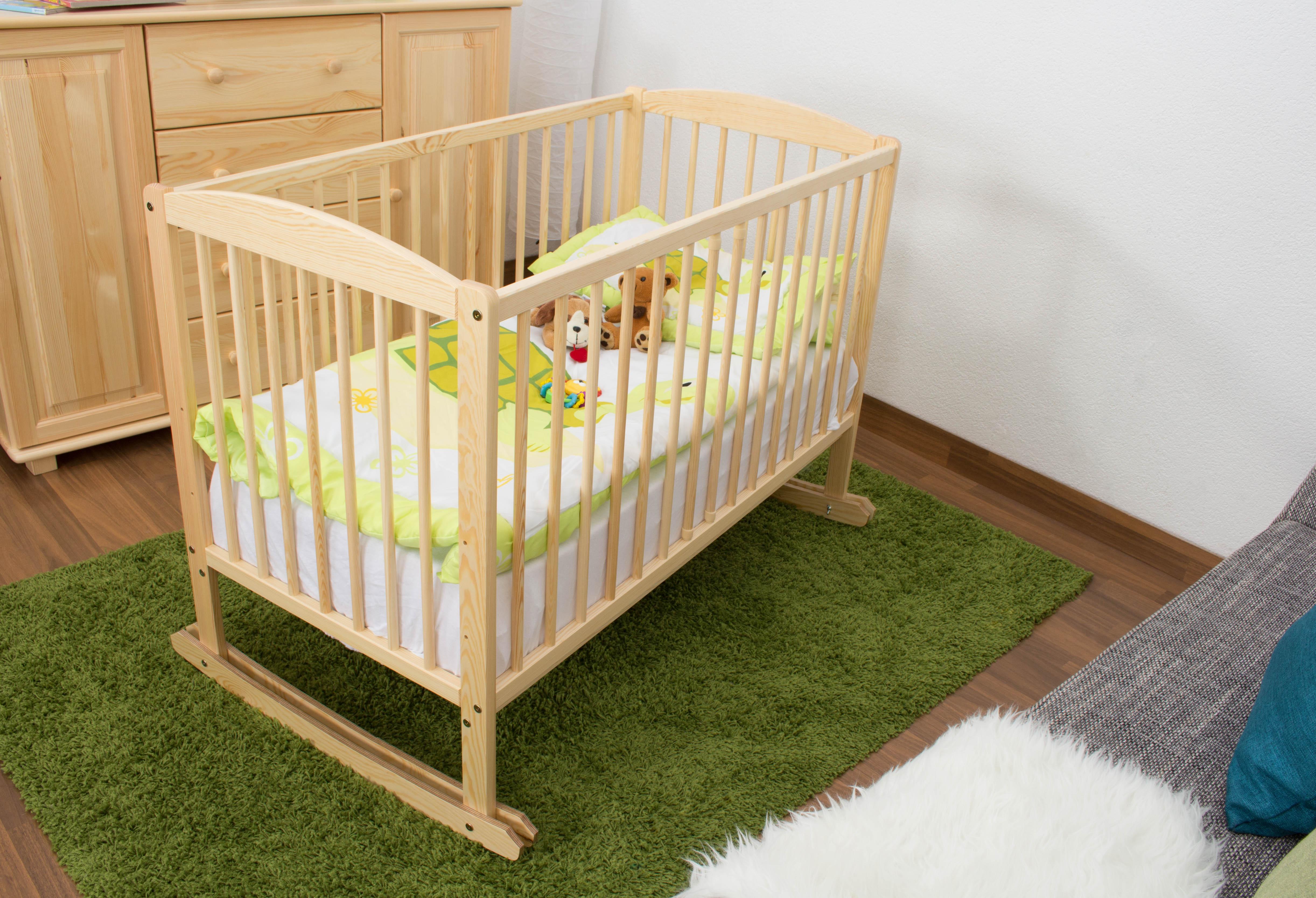 Steiner Shopping Möbel Babywiege Kiefer massiv Vollholz natur 104, inkl. Lattenrost - Abmessung 60 x 120 cm