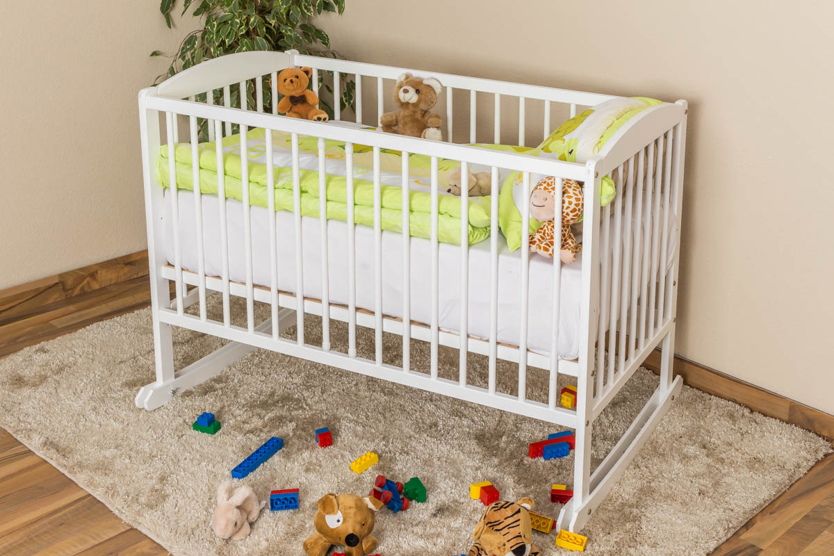 Steiner Shopping Möbel Babywiege Kiefer massiv Vollholz weiß lackiert 104, inkl. Lattenrost - Abmessung 60 x 120 cm