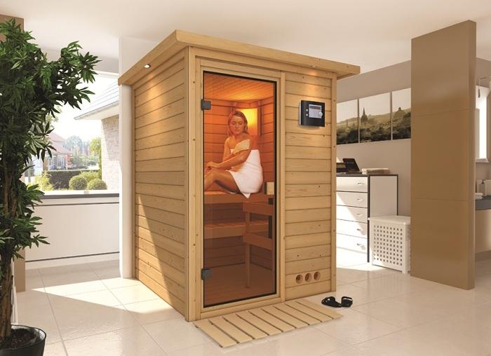 Karibu Sauna Svenja - Ausführung: Dachkranzmodell