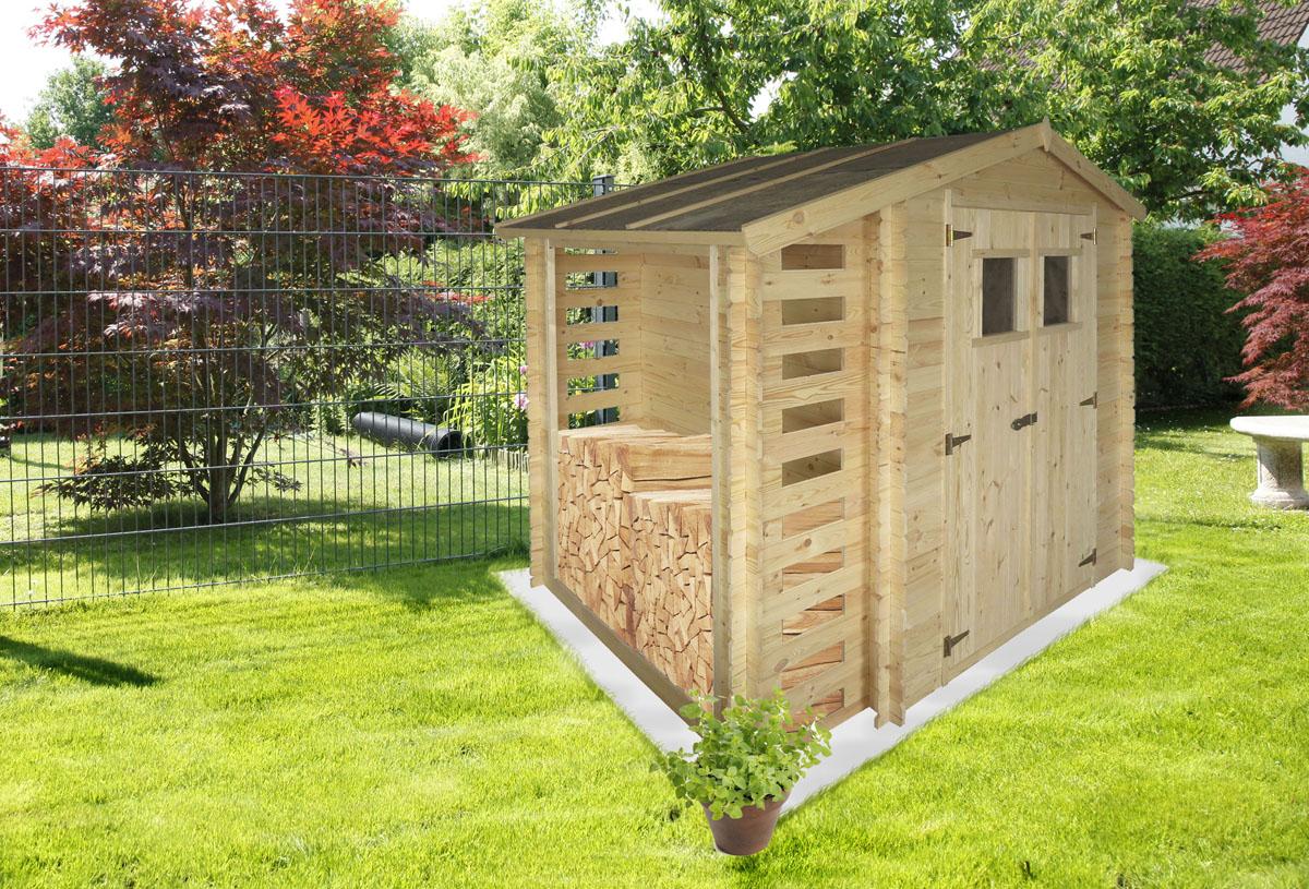 Gartenhaus Velden   2,56 x 2,00 Meter aus 19mm Blockbohlen mit