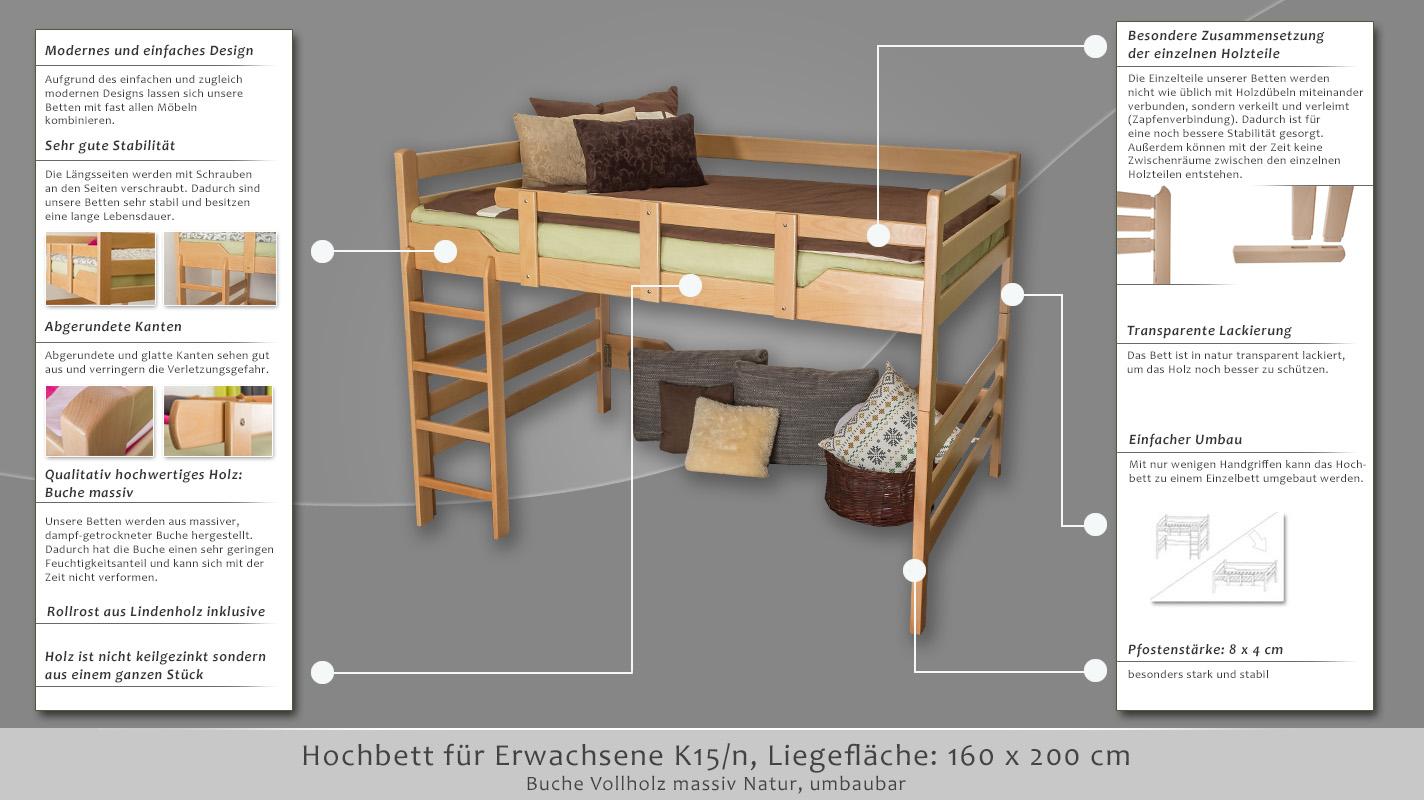 hochbett f r erwachsene easy m bel k15 n buche vollholz. Black Bedroom Furniture Sets. Home Design Ideas