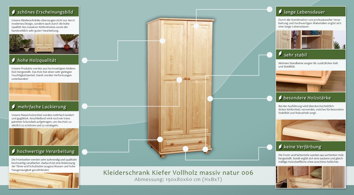 schrank ma e h 190 b 80 t 60 cm. Black Bedroom Furniture Sets. Home Design Ideas