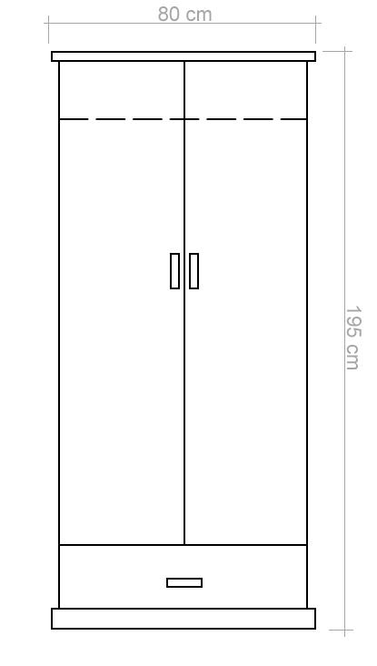 schmaler Kleiderschrank Kiefer Natur 195x80x59 cm, Türen 2, Höhe (cm ...