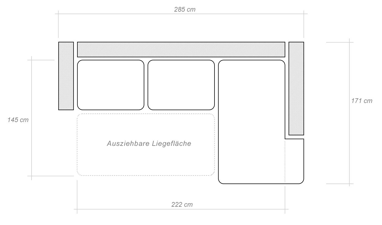 wohnlandschaft sergio in braun mit staukasten und. Black Bedroom Furniture Sets. Home Design Ideas