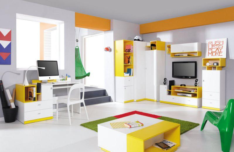 """Jugendzimmer Komplett - Set D """"Geel"""", 7-teilig, Weiß / Gelb"""