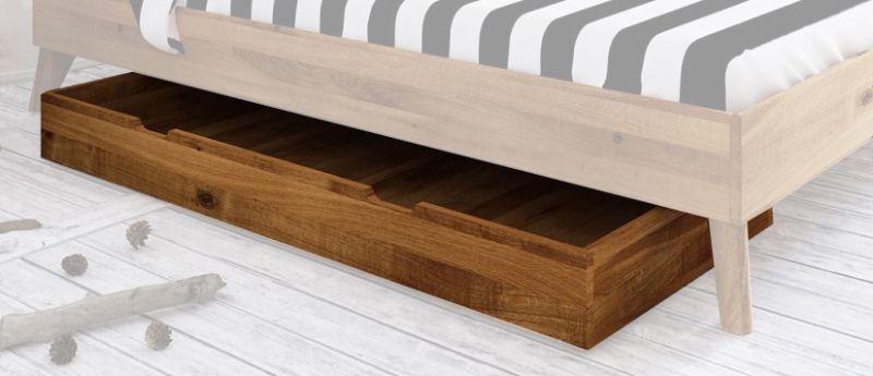 Schublade für Bett Timaru Wildeiche massiv geölt - Abmessungen: 15 x 65 x 150 cm (H x B x L)