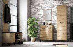 Garderoben Komplett - Set A Pandrup, 5-teilig, Farbe: Eiche / Schwarz