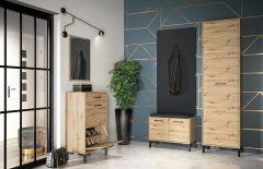 Garderoben Komplett - Set B Pandrup, 5-teilig, Farbe: Eiche / Schwarz