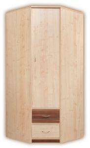 Drehtürenschrank / Eckkleiderschrank Pasuruan 16, Farbe: Nuss / Ahorn - Abmessungen: 195 x 85 x 85 cm (H x B x T)