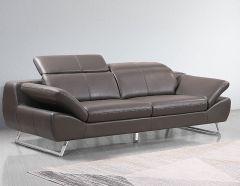 Echtleder Premium Couch Safona, 3-Sitz Sofa, Farbe: Nougat