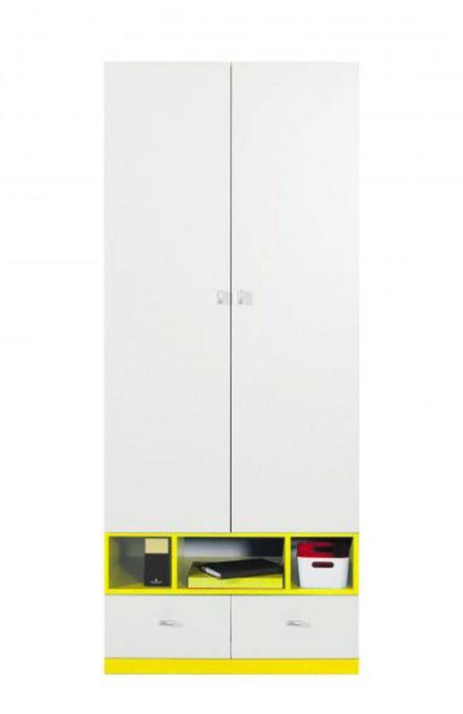 """Jugendzimmer - Drehtürenschrank / Kleiderschrank """"Geel"""" 23, Weiß / Gelb - Abmessungen: 195 x 80 x 50 cm (H x B x T)"""