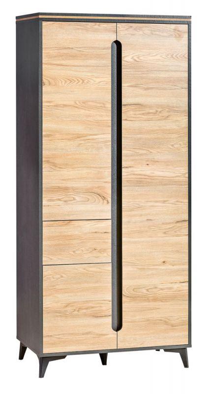Drehtürenschrank / Kleiderschrank Amanto 1, Farbe: Schwarz / Esche - Abmessungen: 200 x 90 x 52 cm (H x B x T)