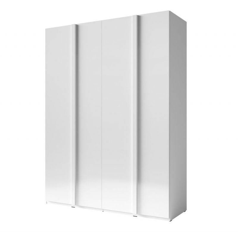 Drehtürenschrank / Kleiderschrank Thiva 01, Farbe: Weiß / Weiß Hochglanz - Abmessungen: 237 x 181 x 59 cm (H x B x T)