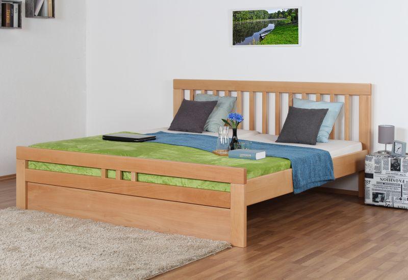 "Jugendbett ""Easy Premium Line"" K8 inkl. 1 Abdeckblende, 200 x 200 cm Buche Vollholz massiv Natur"