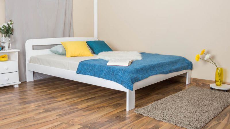 Doppelbett / Gästebett Kiefer Vollholz massiv weiß lackiert A5, inkl. Lattenrost - Abmessung 160 x 200 cm