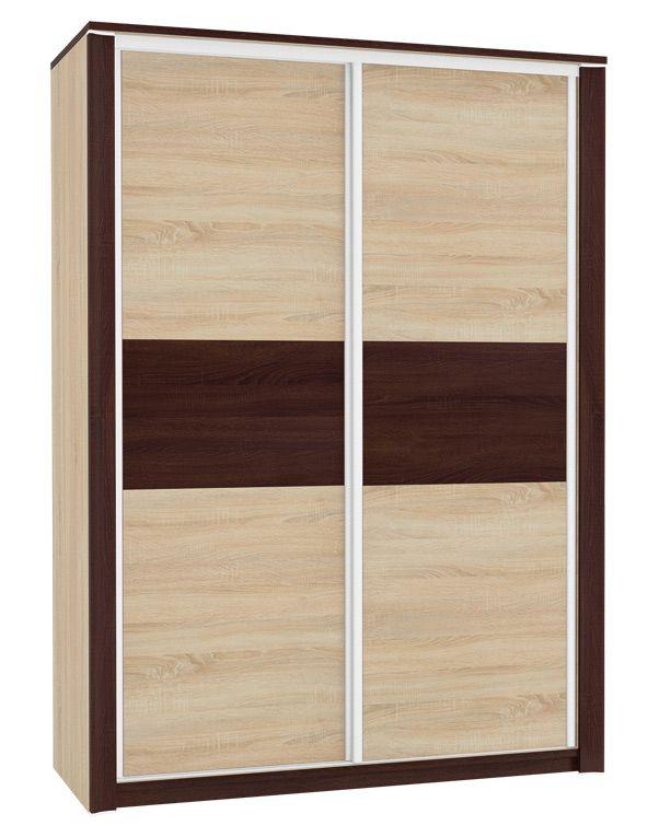 Schiebetürenschrank / Kleiderschrank Nogales 03, Farbe: Sonoma Eiche hell / dunkel - Abmessungen: 210 x 150 x 66 cm (H x B x T), mit 2 Türen und 7 Fächern