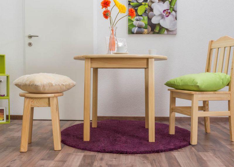 Tisch Kiefer massiv Vollholz natur 003 (rund) - Durchmesser 90 cm
