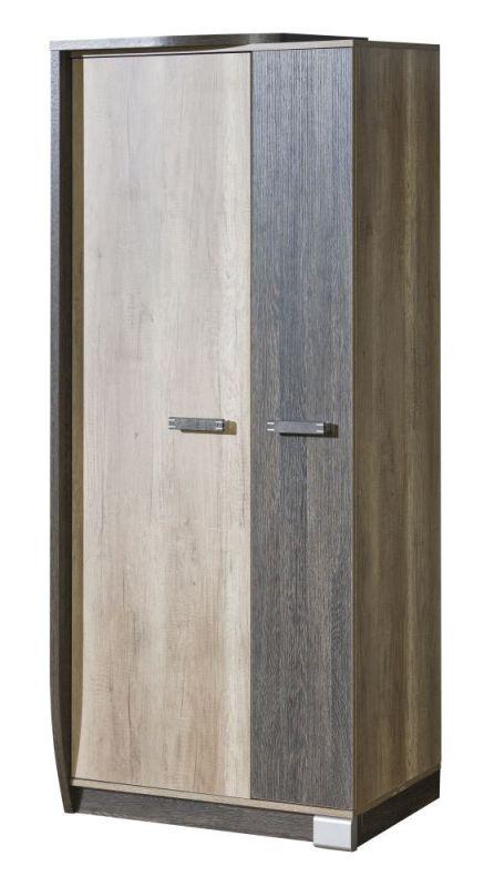 Drehtürenschrank / Kleiderschrank Sichling 01, Rahmen Links, Farbe: Eiche Braun - Abmessungen: 193 x 80 x 58 cm (H x B x T)