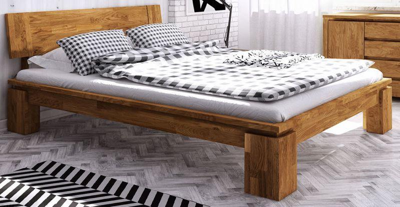 Einzelbett / Gästebett Tasman 01 Wildeiche massiv geölt - Liegefläche: 90 x 200 cm (B x L)
