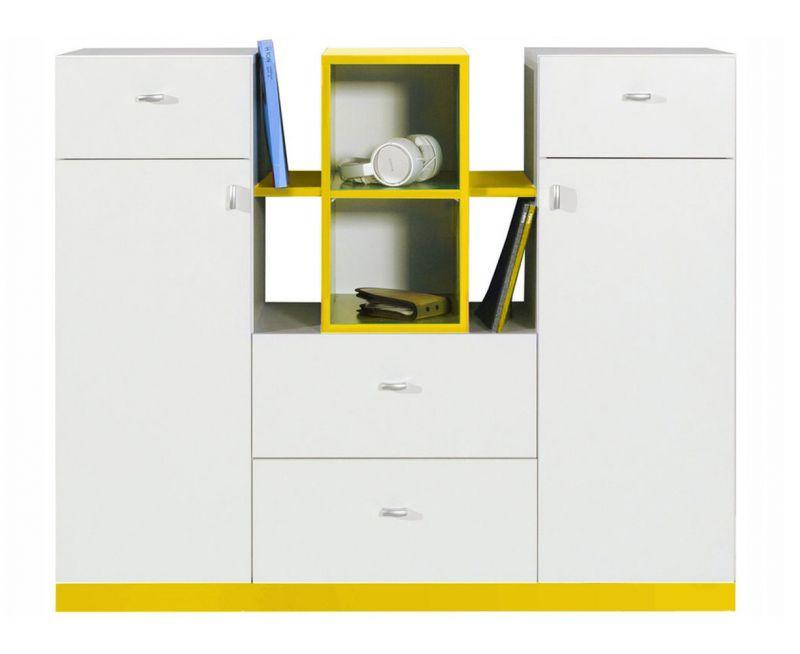 """Jugendzimmer - Kommode """"Geel"""" 31, Weiß / Gelb - Abmessungen: 100 x 120 x 40 cm (H x B x T)"""